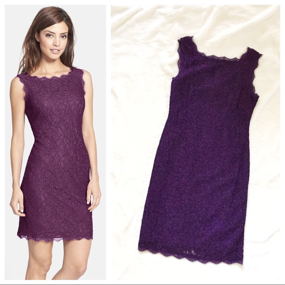 f654841b379c41 Adrianna Papell Dresses   Skirts - ADRIANNA PAPELL Purple Lace Sleeveless  Dress